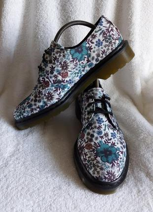 Dr. martens 42p lester туфли ботинки цветы канвас