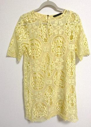 Платье туника сарафан на купальник xs 38 42 сукня ажурное желтое zara летние на море