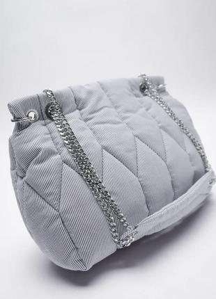 Сумка zara, сумка на цепочке, сумка стеганая, сумка средняч на плечо