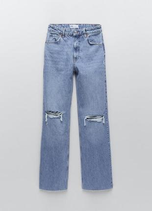 Шикарные широкие джинсы клёш с разрывами wide leg zara