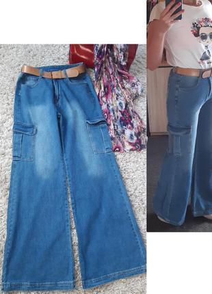 Стильные джинсы клёш, высокая посадка,  shein jeans  strauss&co, p. 40-42