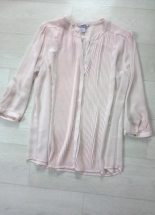 Нежная светло розовая полупрозрачная шифоновая блуза h&m