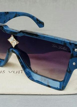 Louis vuitton большие модные женские солнцезащитные очки сине черный мрамор зеркальные