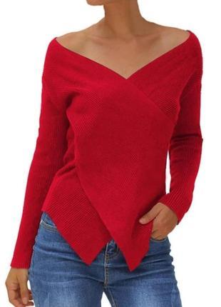 Кофта блуза красная в рубчик на запах вязаная