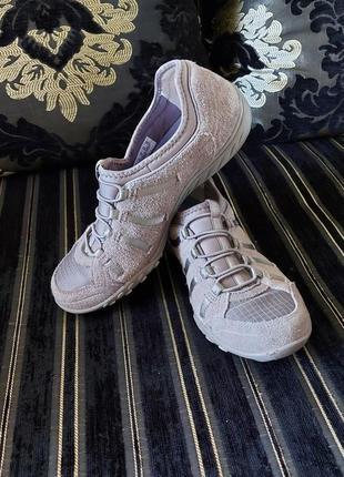 Кеды кроссовки слипоны skechers 36p кожаные серые