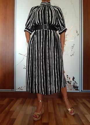 Натуральное черно-белое платье миди с разрезами из 100% вискозы