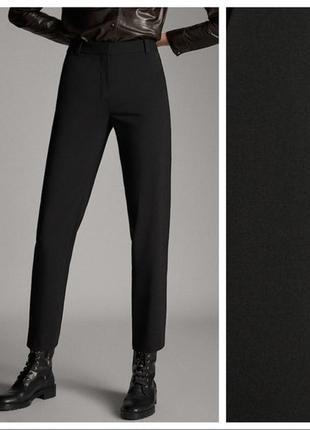 Базовые чёрные шерстяные брюки чинос из тонкой шерсти massimo dutti