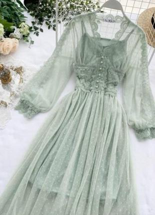 Невероятное платье, р. уни 42-46, гипюр+кружево, мята