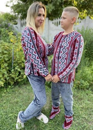 Пижама узор махра бордо