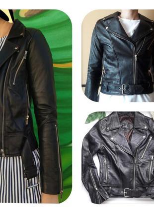 Черная кожаная куртка косуха  100% натуральная кожа ягненка от vogue