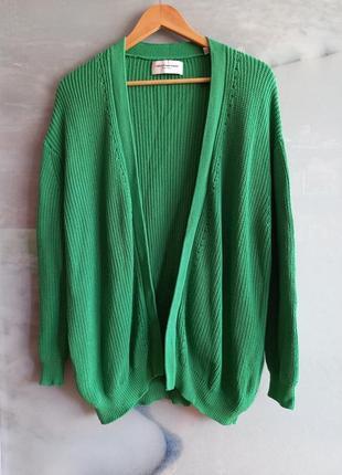 Кардиган из органического хлопка крупной вязки трендового зеленого цвета collectif mon amour