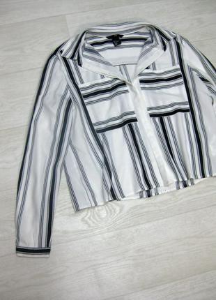 Рубашка короткая h&m в полоску белая