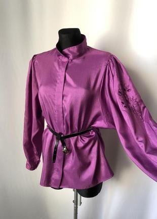 Винтаж фуксия сиреневая блузка пышный рукав вышивка