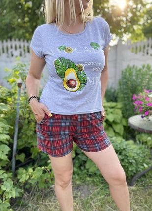 Пижама кулир серая авокадо