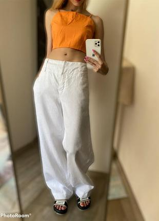 100% лён. белые летние широкие брюки