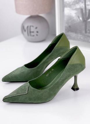 Туфли лодочки женские зелёные