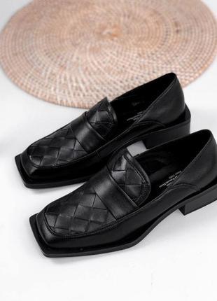 Туфли женские натуральная кожа чёрные лоферы