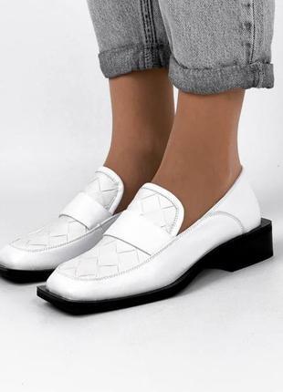 Туфли женские белые кожаные