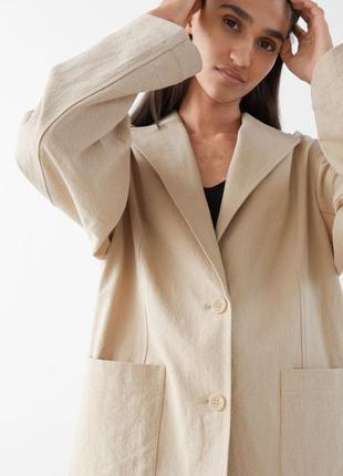Пиджак жакет блейзер изо льна оверсайз лен на подкладке в размере 164 zara, піджак оверсайз