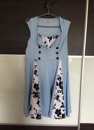 Летнее небесно голубое коттоновое платье германия