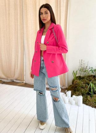 Двубортный блейзер с подплечниками длинный пиджак