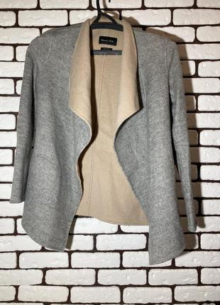 Серо-бежевая накидка , куртка из шерсти massimo dutti