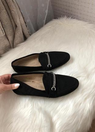 Чёрные замшевые балетки на весну туфли лоферы туфельки 37 размер 23,5 см