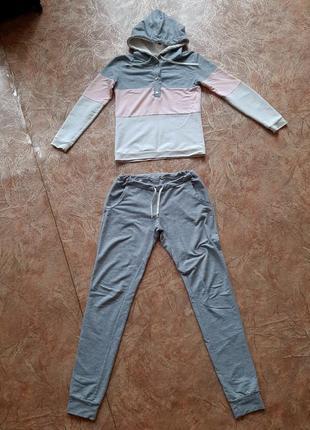 Спортивный костюм прогулочный костюм кофта с капюшоном на кнопках пуговицах штаны джоггеры