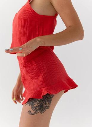 Красная пижама муслин топ и шорты для лета дома и сна