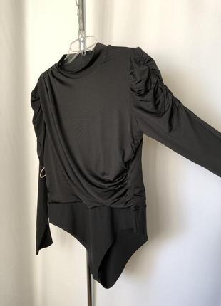 Черный боди драпировка новый