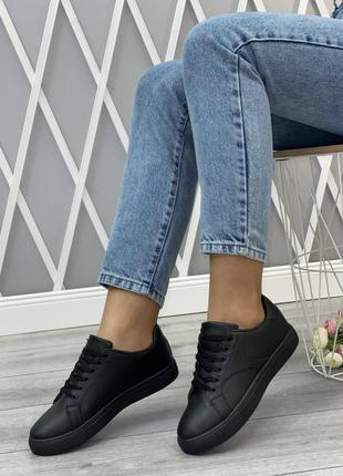 Черные легкие комфортные кроссовки на каждый день