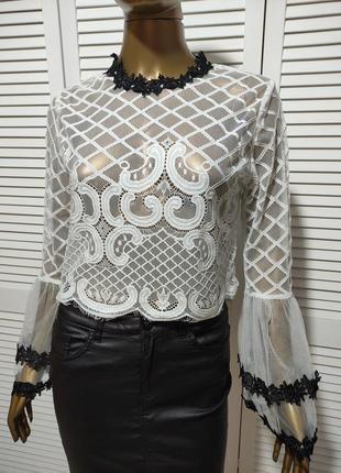 Сетчатая кружевная блузка топ