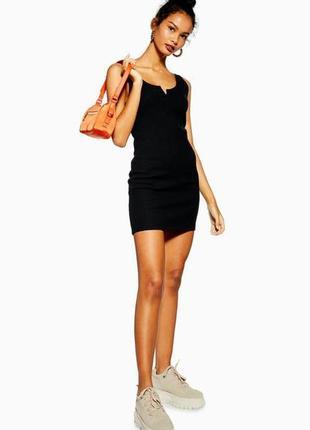 Черное короткое платье из вафельной ткани topshop