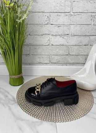 Туфли лоферы женские черные кожаные на толстой высокой подошве платформе из натуральной кожи кожа