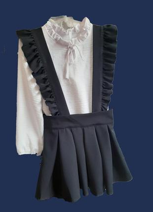 Дуже модний сарафан темно синього кольору з довгими шлейками