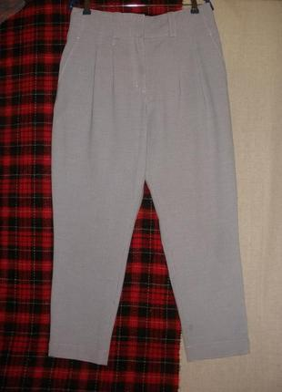 Летние брюки штаны calvin klein высокая талия защипы клетка