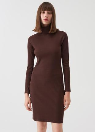 Sinsay базовое хлопковое платье из тонкого трикотажа шоколадного оттенка