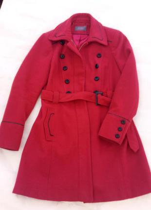 Кашемировое, красное, демисезонное пальто