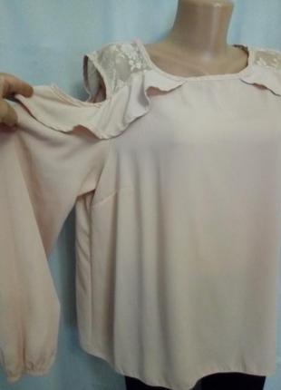 Стильная нюдовая блуза с открытыми плечами,  №9bp
