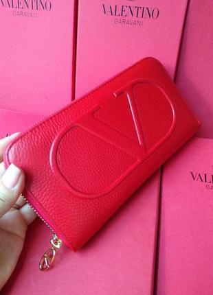 Шкіряний червоний гаманець валентина на блискавці