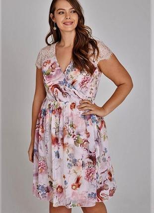 Воздушное шифоновое платье на запах в пастельных тонах платье халат большой размер