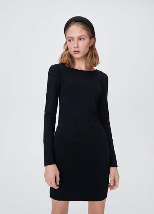 Sinsay хлопковое чёрное платье с красивой спинкой