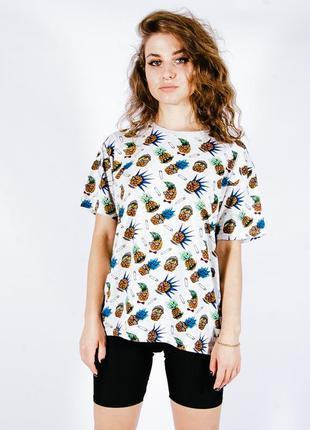 Свободная футболка женская, серая футболка с принтом, легкая футболка