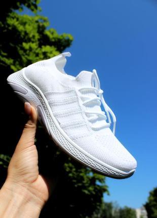 Женские белые кроссовки летние для бега и ходьбы текстильные спортзал