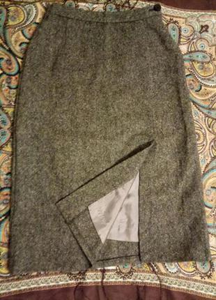 Теплая классическая 100% шерсть юбка
