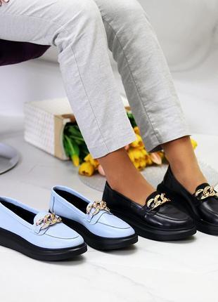 36-40р кожаные туфли лоферы черные голубые