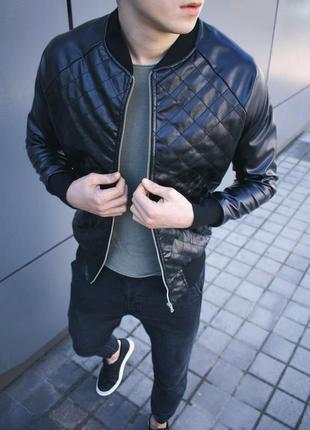Мужская классическая куртка бомбер из кожи черная