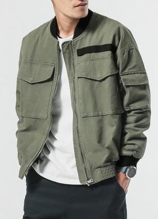 Демисезонная мужская куртка бомбер хаки из плотной ткани