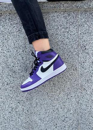 Кроссовки унисекс фиолетовые nike air jordan 1 court purple фіолетові кросівки унісекс