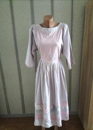 Платье винтаж, аппликация, объемные рукав